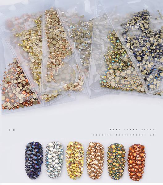 Nouveau 1440 Pcs 3D Nail Art Décoration Haute Argent Flatback Diamant Cristaux Brillants AB Strass Diamant Brillant Taille Mixte