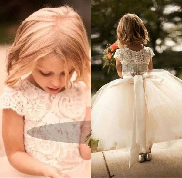 Pizzo bianco e tulle Flower Girl Dress manica corta Tea Length Sash Layed Tutu Gonna bambini Abiti da cerimonia indossati su misura