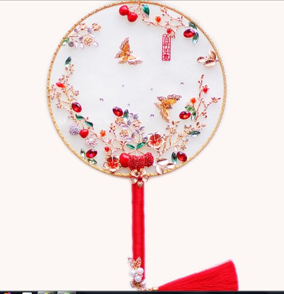 The latest Chinese style gold red cherry butterfly wedding fan bouquet