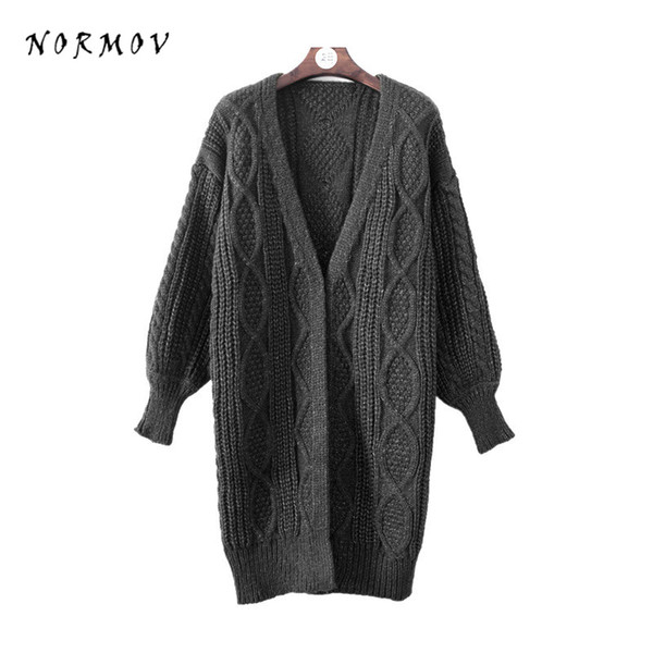 NORMOV Women Sweaters Cardigan 2017 Winter Cotton Solid Lantern Sleeve Computer knitted Retro Long Sweater Coat For Women