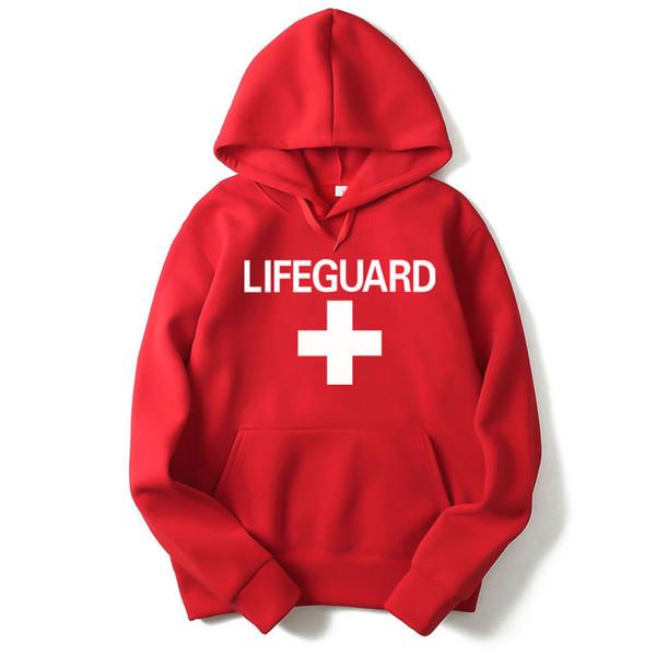 RUMEIAI Sweats À Capuche Sweats Lifeguard Print Design Noir / Gris / Rouge Hommes Femmes Sweats À Capuche Casual Hip Hop À Capuche Marque Vêtements