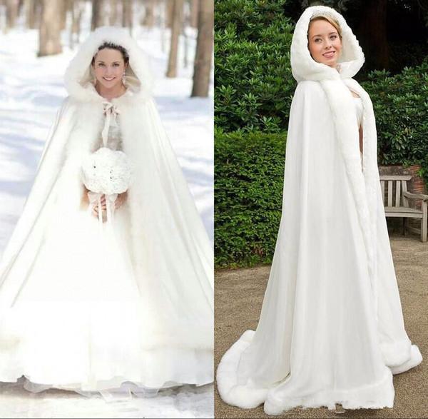 Plus size Inverno 2019 Nupcial Xales Casacos Cape Faux Fur Casacos de Natal Com Capuz Perfeito Casamento Wraps Abaya Vestidos de Casamento