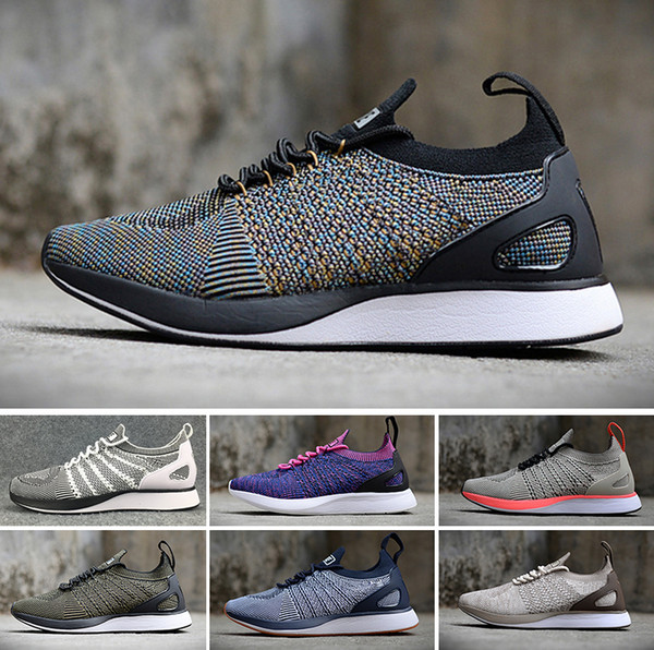 NIKE Air Flyknit Racer Be True 2 2018 Flying Racers Trainers Knit Oreo Black White Grey casual Lunar Free jogging Shoes Men Women summer shoes size 36-45