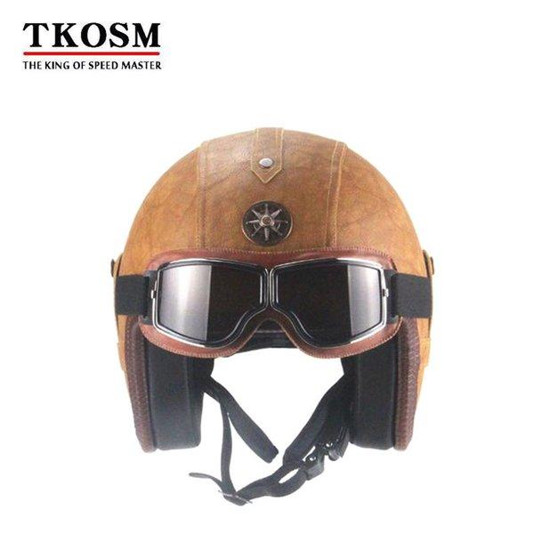 Tkosm 3/4 capacete de couro pu harley capacetes de moto chopper bicicleta face aberta capacete da motocicleta do vintage com máscara de óculos de proteção 2 cores