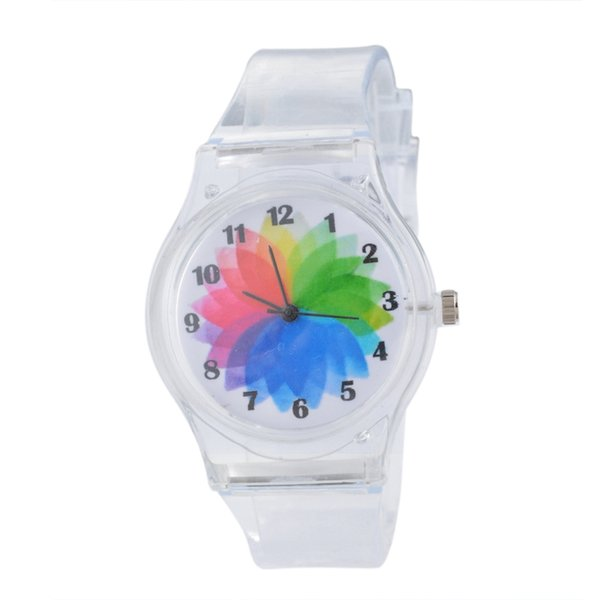 Hot Women Transparent Clock Silicone Watches Sport Casual Quartz Wristwatches Novelty Crystal Kids Watch Cartoon Reloj Mujer