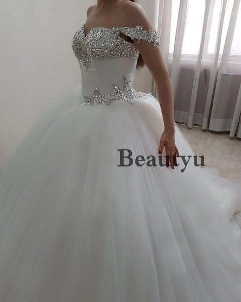 Luxury Ball Gown Wedding Dress 2018 Sparkle Crystals Off Shoulder Corset Plus Size Cheap Tulle Country Bridal Gowns Vestidos de noiva