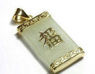 Großhandelsnatürliches hellgrünes Jade-Gelb-Gold überzog Vermögen-Glück-hängende Halskette
