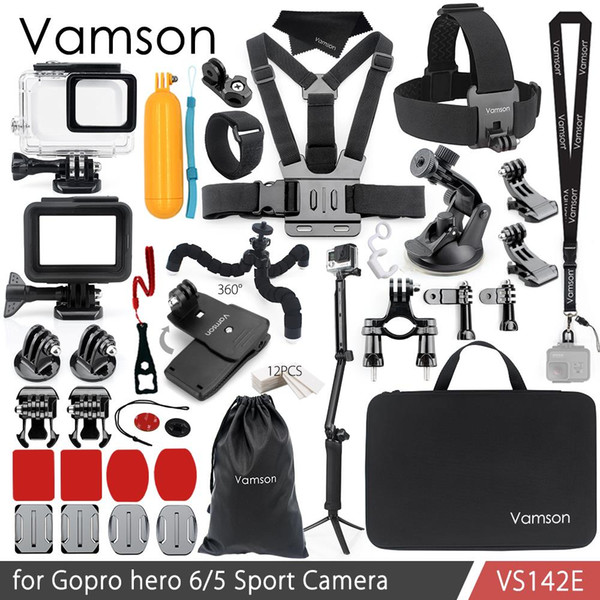 Vamson for Gopro Hero 6 5 Accessories Kit Waterproof Housing Case Frame Adapter Floaty Bobber for Go pro Hero 6 5 Camera VS142