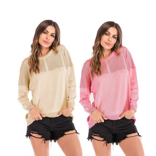 Sweater Women T shirt Fashion Autumn Winter Brand Designer New Lady Sweater Pink Long Style Knit Casual Jumpers Tops Knitwear Sweater size L