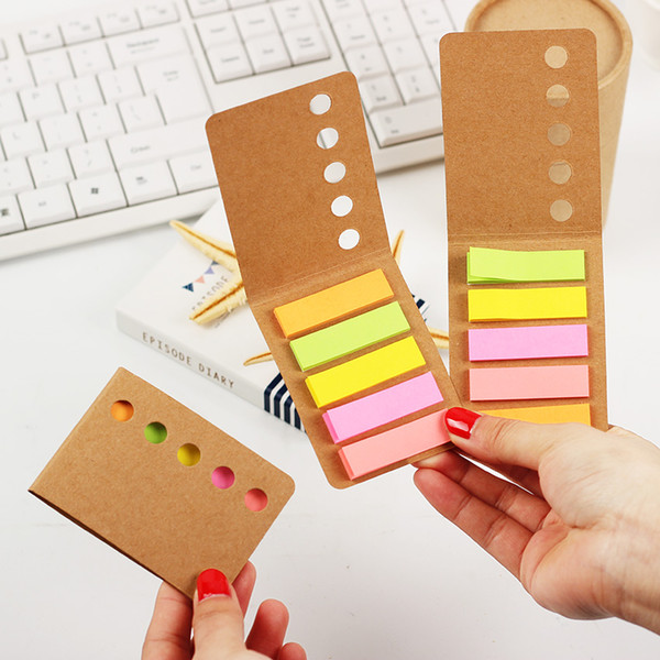 1PC Cute Kraft Paper Cover Candy Color Memo Pad N Times Sticky Notmark Notepad School Office Supply Escolar laria