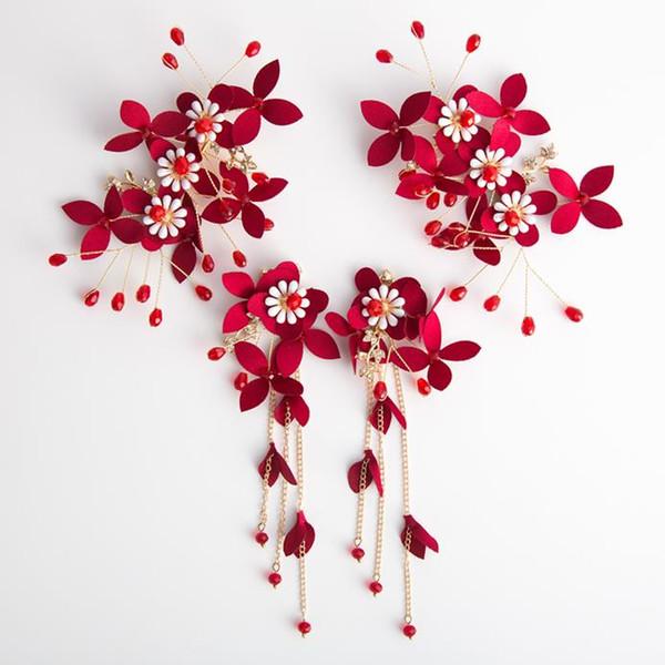 Bridal headwear red handmade hairpin flower head flower handmade wedding accessories dress flower ornament