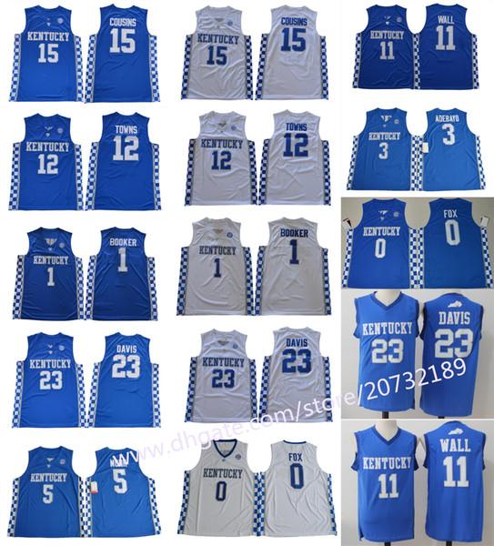 Men Kentucky College Jersey 1 Devin Booker 5 Malik Monk 0 De Aaron Fox 11  John Wall 15 DeMarcus Cousins Wildcats Basketball jerseys Cheap d1517423c