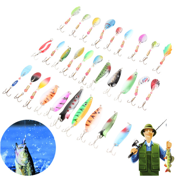 New 30Pcs/lot Fishing Lure Mixed Minnow Spinner Bait Artificial Hard Metal Lure with Hook for Carp Fishing Accessories Pesca