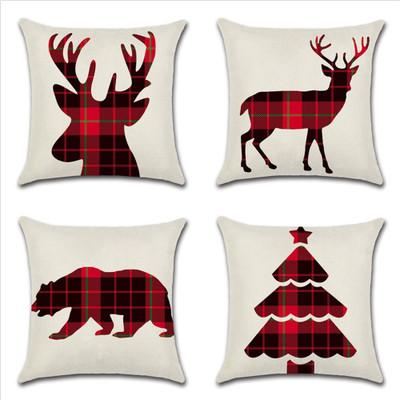 Hotel 45 * 45 cm Funda de almohada de Navidad Sofá de lino a cuadros Funda de almohada Funda de cojín de ciervo de Navidad Regalos Decoración para el hogar Decoración de fiesta