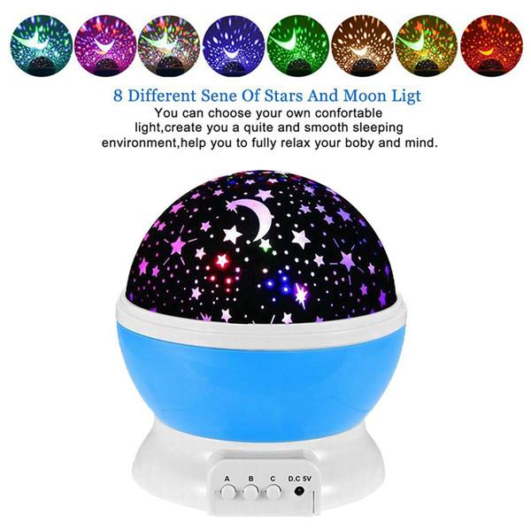 LED Rotating Star Projektor Neuheit Beleuchtung Mond Himmel Rotation Kinder Baby Kindergarten Nachtlicht USB Batteriebetriebene led-leuchten