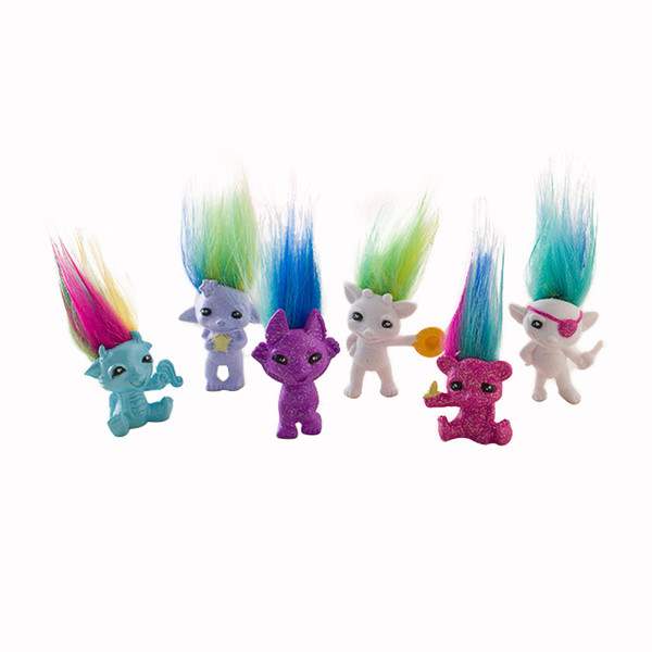 4cm Mini Size Trolls Pencil Topper The Good Luck Trolls Doll Movie Roles PVC Toys Gifts For Kids,Squinkies
