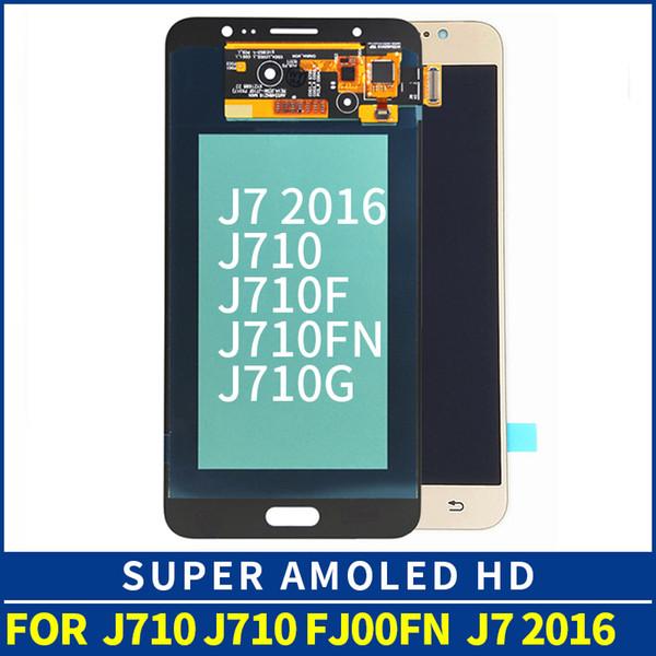 100% testado qualidade amoled para samsung galaxy j7 2016 j710j710m j710h j710fn lcd touch screen display substituição com digitador assembléia