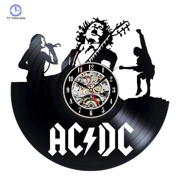 top popular ACDC Theme Wall Clock Record Unique Black CD Wall Clocks Living Room Decor Amerian European Retro Style Hanging Watch 2020