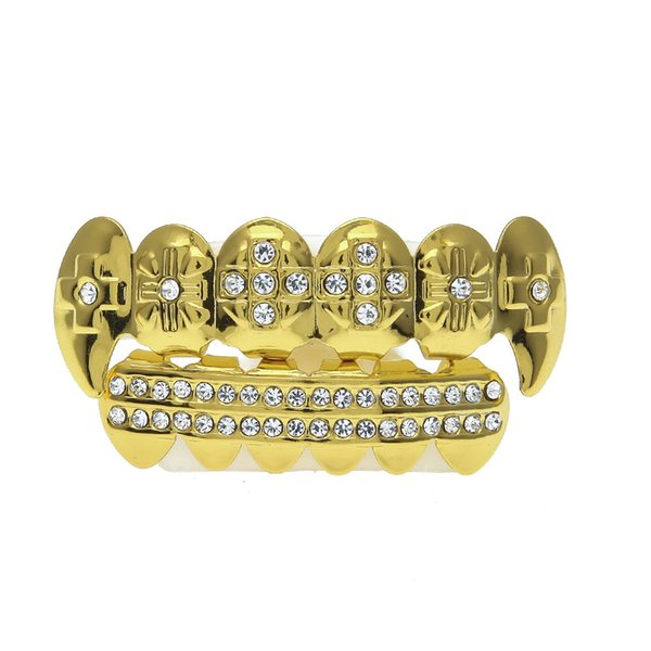 Wholesale- Hip hop gold braces Explosion models Grills real gold electroplating hip hop gold teeth exaggerated diamond fangs braces