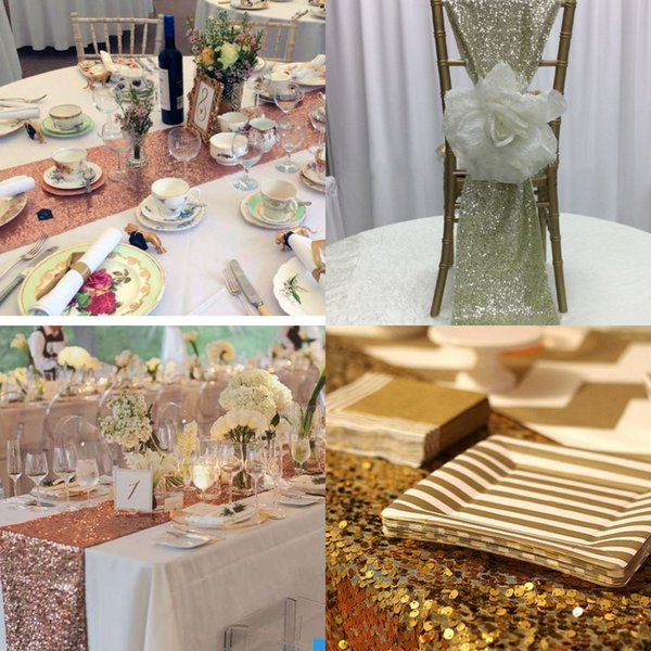 FC1690 Luxury Squines Rose Gold Chair Sashes Table Runner Custom Made Table Centerpieces Wedding Decoration Party Decor Cloths Tablecloth