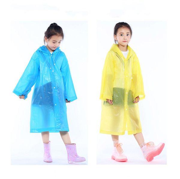 top popular Kids Hooded Transparent Jacket Raincoats Rain Coat Poncho Raincoat Cover Long Girl Boy Rainwear 5 Colors 110*55cm 2019