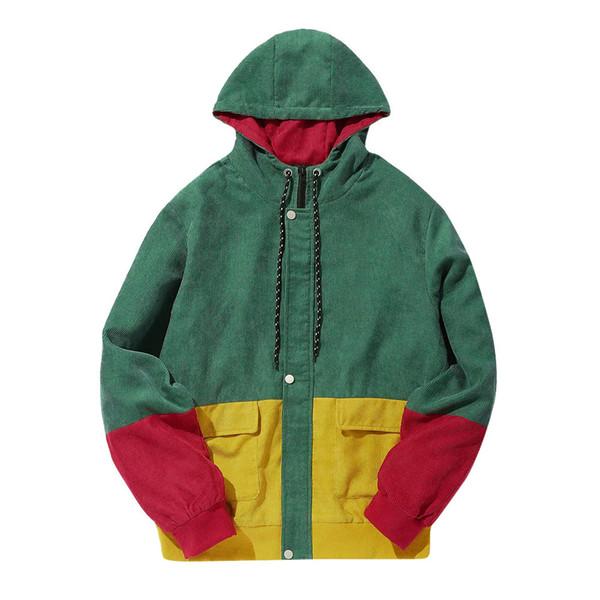 junxcj / 2018 outono inverno jaqueta de veludo ocasional cor bloco patchwork jaqueta de manga longa casaco hip hop homens sobretudo