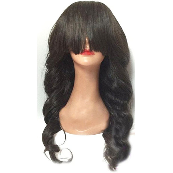 Full Lace Human Hair Wigs With Bangs Loose Wave Brazilian Virgin Hair Glueless Lace Front Wigs For Black Women 130% Density Natural Hairline