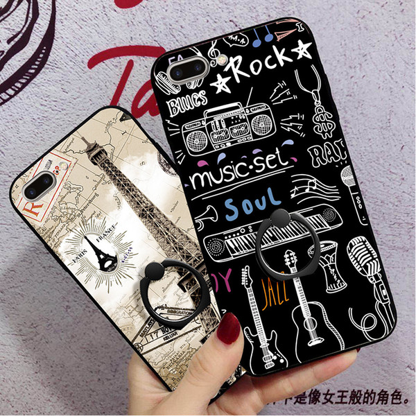 For iPhone X 6 6s 6plus 7 8 the latest fashion Cartoon Ring buckle bracket Apple 6 Goddess Mobile Shell Soft lace Painted shell