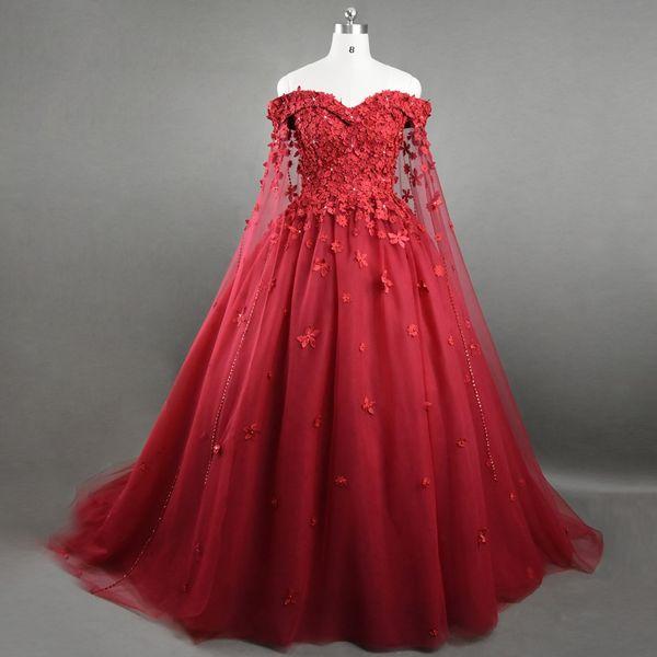 Luxo Lace Vermelho Vestidos de Noite com Capa Fora do Ombro Floral 3D Apliques Beading Dubai Formal Prom Dress Party Vestidos Custom Made