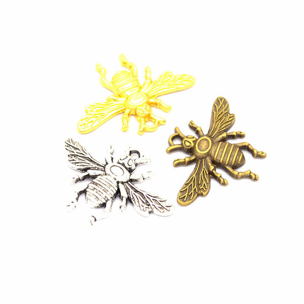 200 Bee Charms Pendants Bronze & Silver Gold Available. 32*23mm. Perfect for Creating Handmade Bracelets, Earrings, Necklaces