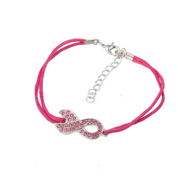 Myshape New Arrive Pink Ribbon Crystal Paved Charm Wax Rope Bracelet Breast Cancer Awareness Jewelry for Women Inspirational Bracelets