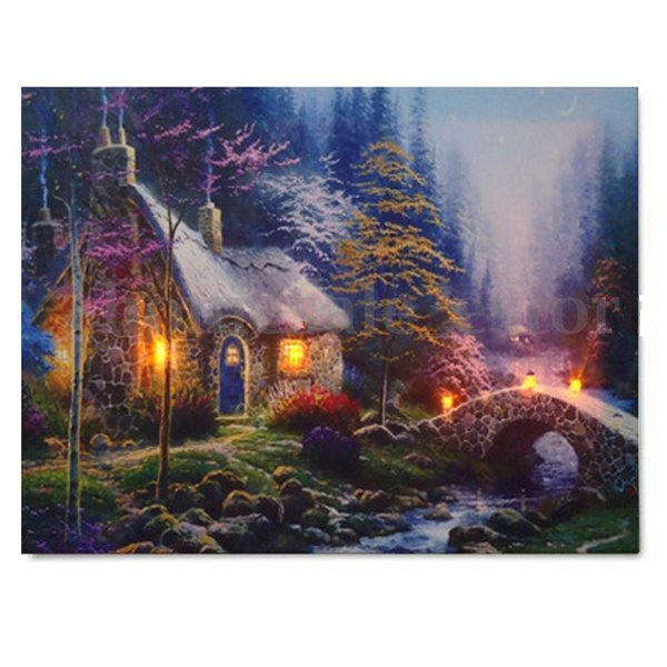 LED House Landscape Lighted Canvas,Handpainted /HD Print Landscape Wall Art Oil Painting On Canvas.Home Decor Multi Custom Sizes /Frame Ls59
