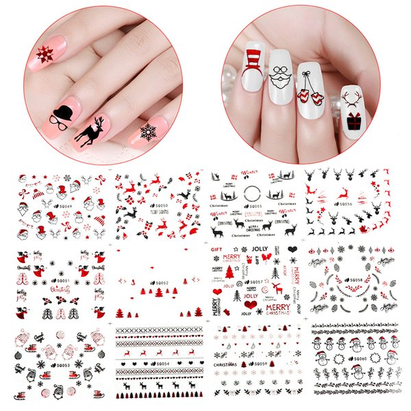 24 Designs/Set 3D Christmas Nail Stickers Snowflake Transfer Decals Nail Art Decoration Cartoon Snowman Elk Manicure Tips UV Gel