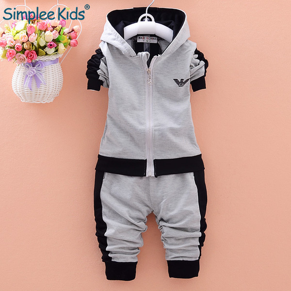 Simplee Kids Baby Clothing Set Long Sleeve Baby Boys Set Autumn Winter Hooded Sweatshirts+Pant Boy Sport Clothes Suit