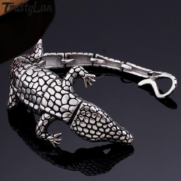 Cool Animal Lizard Bracelet Man Punk Rocker Stainless Steel Mens Bracelets Bangles Friendship Male Bangle Jewelry Party Gifts