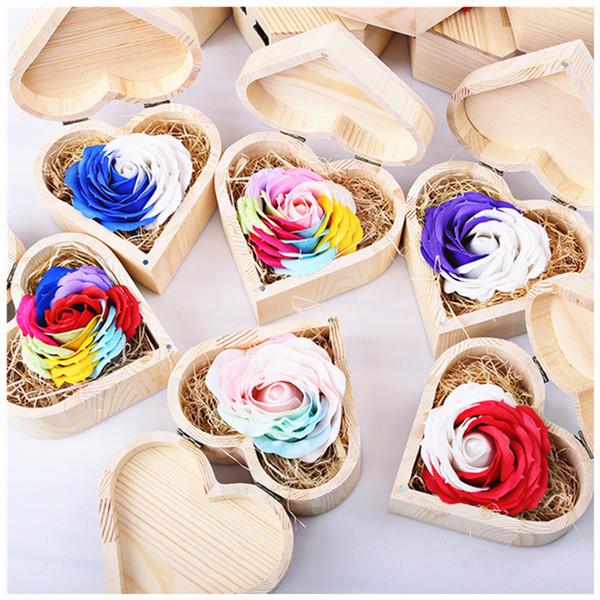 1 pacote caixa de madeira sabão flor rainbow rose para o dia dos namorados rose brithdays presentes, dia do professor, dia de ação de graças presentes 0286