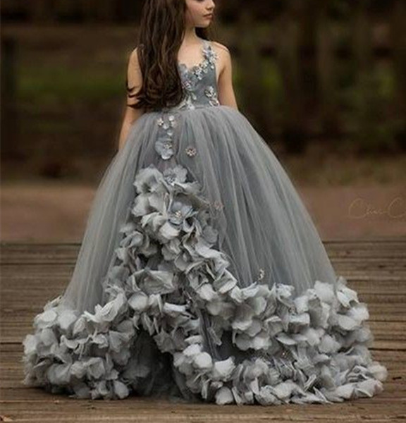 Grey Princess Girls Pageant Dress Petals Spaghetti Straps Flower Girl Dresses Long Puffy Kids Birthday Christmas Party Gowns