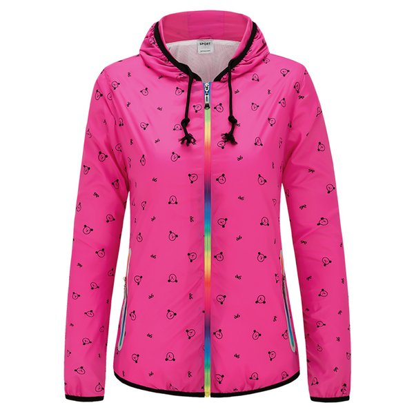 Women Running Jacket Cartoon Sunscreen Jogging Jogger Sweatshirt Ladies Zip Color Windbreaker Gym Clothing Hoodies Sport Coat