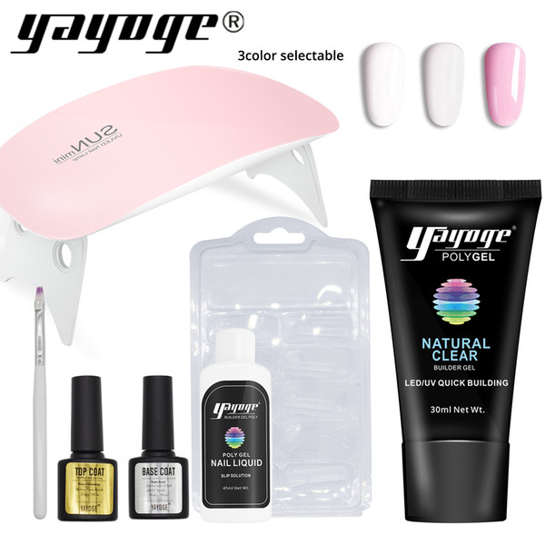 Yayoge Nail Builder Gel Kit 30ml 3 Colors Quick Extension Gel Varnish with 2 Colors 6W LED UV Nail Lamp for Nail Extension