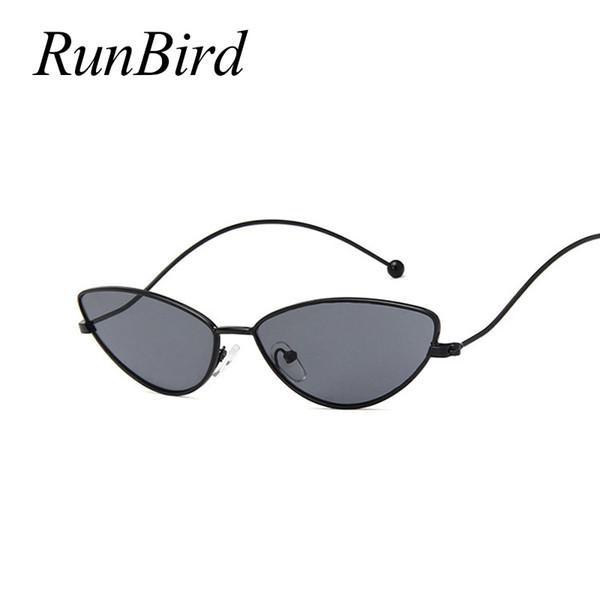 RunBird Ladies Fashion Cat Eye Sunglasses Trendy Eyewear High Quality Alloy Frame Curved Leg Design Sunglasses Women UV400 1401R