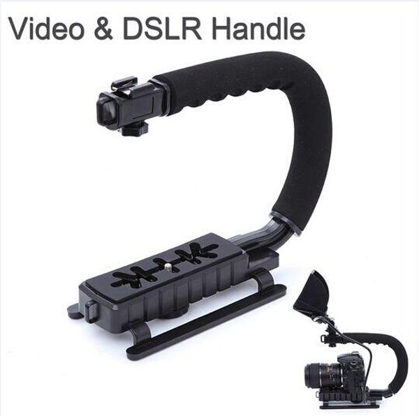 U/C Shape flash Bracket holder Video Handle Handheld Stabilizer Grip for DSLR SLR Camera Phone for Sports Action Camera DV Camcorder
