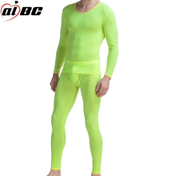 2pcs / set (chemise + pantalon) Body Trimming Warmer Set Long Johns Hommes Nylon Underwear Mens Ice Silk Underwear