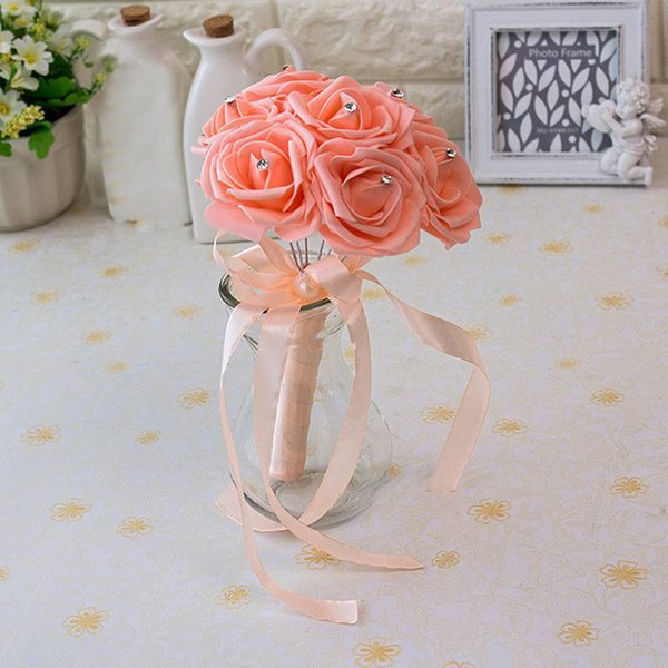 2019 Newest Cheap Artificial Roses Flowers Silk Pearl Wedding Bouquets Foam Rose Brooch Wedding Bridal Bridesmaid Posy Bouquet 25*18 CPA1560
