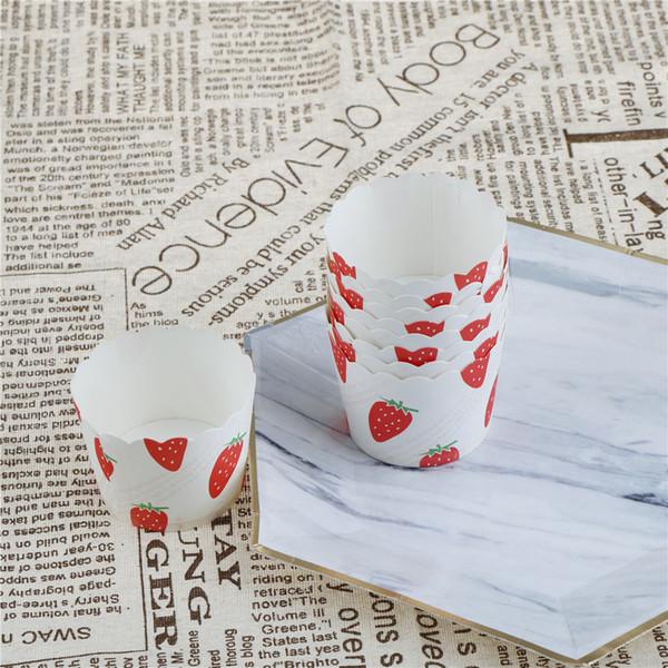 50 unids cajas de papel de fresa revestimientos de papel de la magdalena de la torta taza de la hornada casera decoración de la fiesta de cumpleaños de la boda