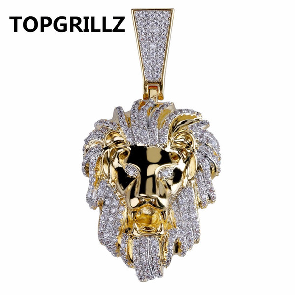 TOPGRILLZ Hip Hop Gold Color Plated Iced Out Micro Pave Cubic Zircon Lion Head Pendant Necklace Charm For Men Jewelry Gifts