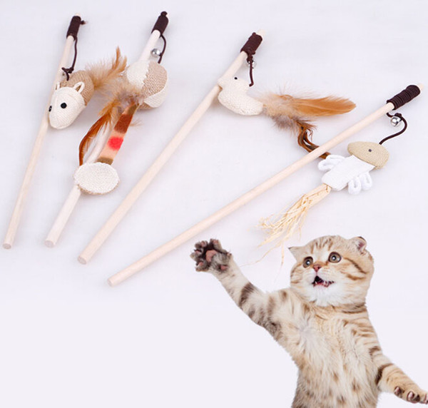 Cat Teaser Cat Toy Pet Toy Funny Cat Feather Stick Small Mouse for Cats Scratching Playing Training Pet Supplies