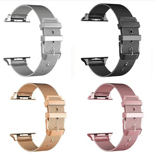 Milanese Watchband for iWatch Apple Watch 38mm 42mm Stainless Steel Band Woven Strap Wrist Belt Bracelet Rose Gold Black Silver