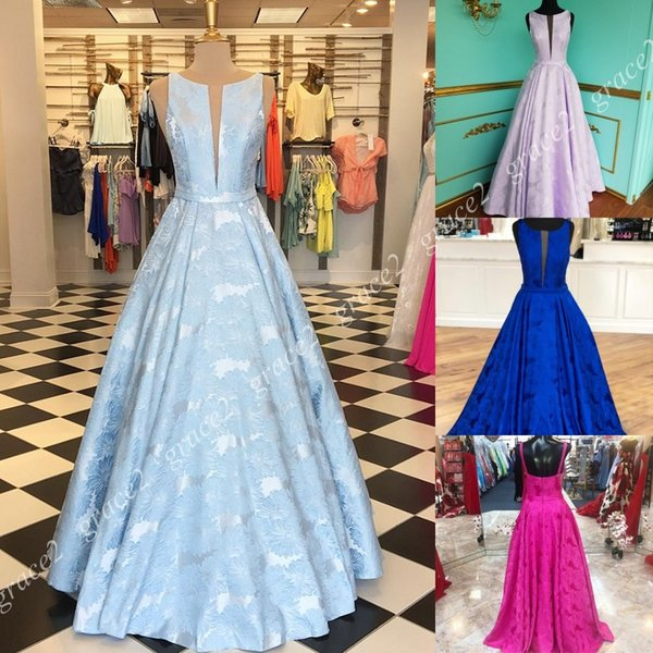 Racking Pattern Satin Prom Dresses 2k19 Plunging Neckline A Line Fuchsia Formal Event Party Dress Real Photos Pageant Runway Gowns Custom