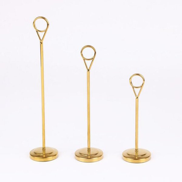 Luxury Gold 6/8/12 inch Tall Stainless Steel Table Number Holders Wedding Party Decoration Name Number Card Stand QW8749