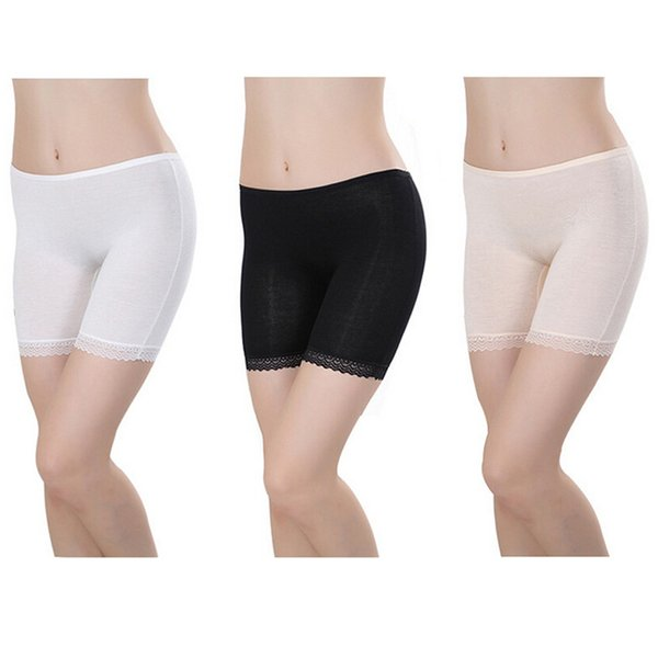 2017 Women Safety Short Pants Anti Emptied Under Skirts Summer Thin Bamboo Flat Lace Edge Underpants Black,White,Beige DP866078